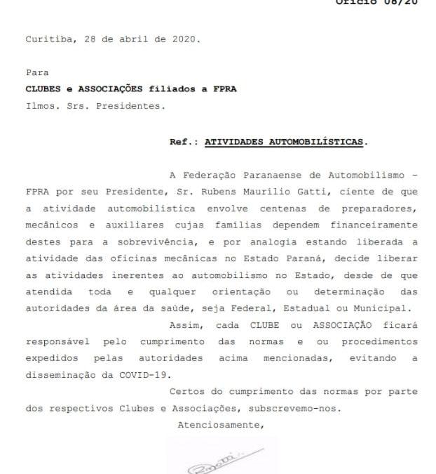 Federação Paranaense libera autódromos e kartódromos para treinos